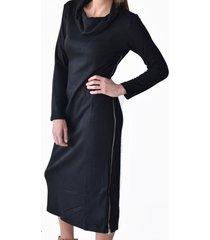 vestido drapeado negro alexandra cid