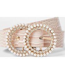 river island girls pink pearl diamante croc belt