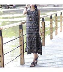 zanzea vestido floral sin mangas de fiesta de playa de verano de boho para mujer -azul