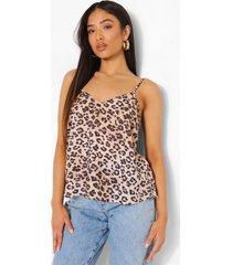 petite geweven luipaardprint hemdje met v-hals, natural
