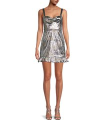 cynthia rowley women's ruffled mini dress - metallic - size 6