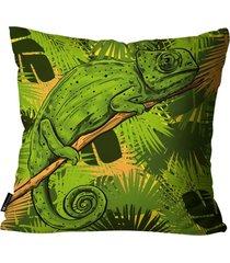 almofada mdecore camaleáo verde 45x45cm - tricae
