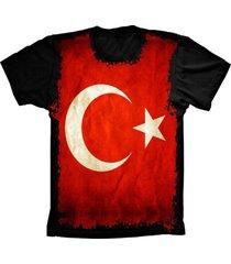 camiseta baby look lu geek flag turquia preto - preto - feminino - dafiti