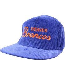 new vtg 90s denver broncos corduroy cap blue snapback hat deadstock nos nwot !