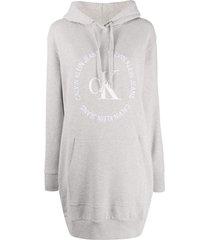 calvin klein jeans hooded logo jumper dress - grey