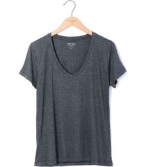 camiseta cuello v tela jersey viscosa para mujer color siete - gris
