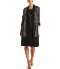 r & m richards petite 2-pc. metallic jacket & dress set
