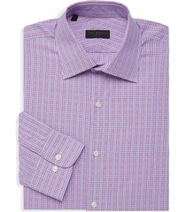 ike by ike behar men's checkered long-sleeve dress shirt - berry - size 17 36