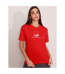 t-shirt de algodão com bordado colinas manga curta decote redondo mindset vermelha