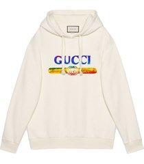 gucci sweatshirt with sequin gucci logo - white