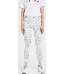 skinny floral trousers - white - 46
