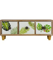 mini gaveteiro 3 gavetas retangular tropical - marrom/multicolorido - dafiti