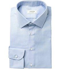 camicia da uomo su misura, canclini, eco oxford azzurra cotone organico, quattro stagioni | lanieri