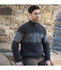 mens newgrange charcoal celtic sweater l