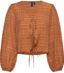 aida blouse blus långärmad brun résumé