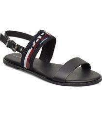 tommy sequins flat sandal shoes summer shoes flat sandals svart tommy hilfiger