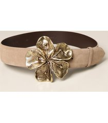 alberta ferretti belt alberta ferretti belt in suede with maxi flower buckle