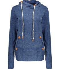 stylish hooded long sleeve spliced draped women's hoodie