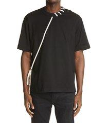 men's craig green laced t-shirt, size large - black