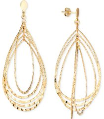 textured multi-teardrop drop earrings in 14k gold-plated sterling silver