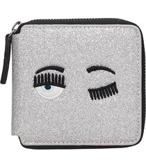 chiara ferragni wallet in silver leather