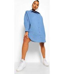 plus oversized chambray boyfriend blouse jurk, mid blue