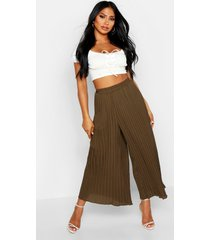 high waist pleated wide leg culottes, khaki