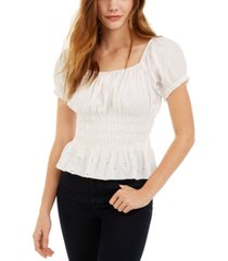 planet gold juniors' smocked puff-sleeve eyelet top