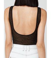 balmain women's monogram jacquard strap bodysuit - noir - fr 36/uk 8