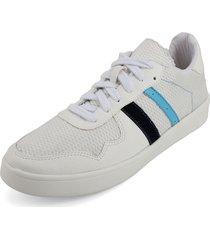 tenis blanco por  azul blanco perla 900