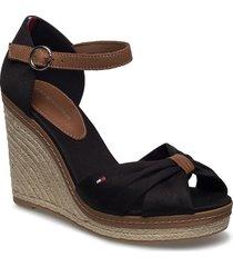 iconic elena sandal sandalette med klack espadrilles brun tommy hilfiger
