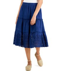 style & co petite cotton tiered eyelet-embroidered skirt, created for macy's