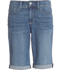 women's nydj briella roll cuff stretch denim shorts, size 0 - blue
