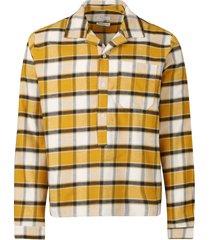 check print camp pullover shirt yellow