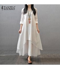 vestido largo con mangas largas zanzea para mujer-blanco