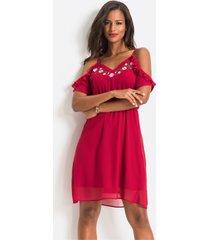 cold shoulder jurk met borduursel