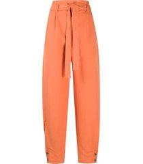 alberta ferretti belted high waisted trousers - orange