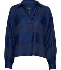 d1. popover rugger stripe shirt blouse lange mouwen blauw gant