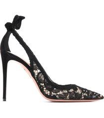 aquazzura bow tie lace detail pumps - black