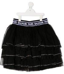 balmain kids teen tiered tulle mini skirt - black