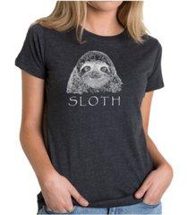 women's premium word art t-shirt - sloth