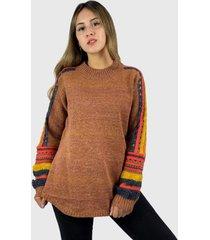 sweater mujer de lana café enigmática boutique