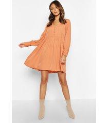 woven button detail smock dress, apricot