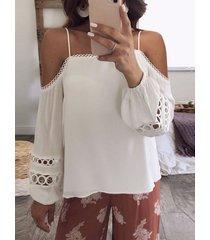 blusa con mangas de linterna de hombro frío de diseño hueco blanco