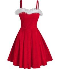 bicolor front fluffy velour flare dress