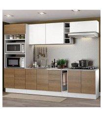 cozinha completa madesa stella 290001 com armário e balcão branco/rustic branco/rustic/branco