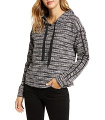 women's bobeau jackie boucle stripe hoodie, size medium - black