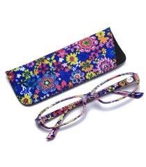 moda vintage da donna leggero fiore flessibile lettura quadrata occhiali inclusa custodia occhiali