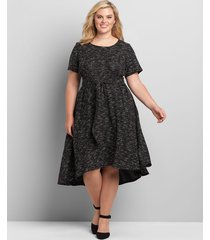 lane bryant women's textured high-low fit & flare dress with tie waist 10/12 black
