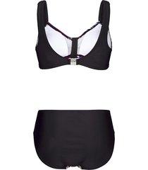 bikini maritim svart/vit/rosa